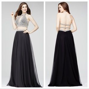 Jovani 24872 2 piece gown sz 2 Black